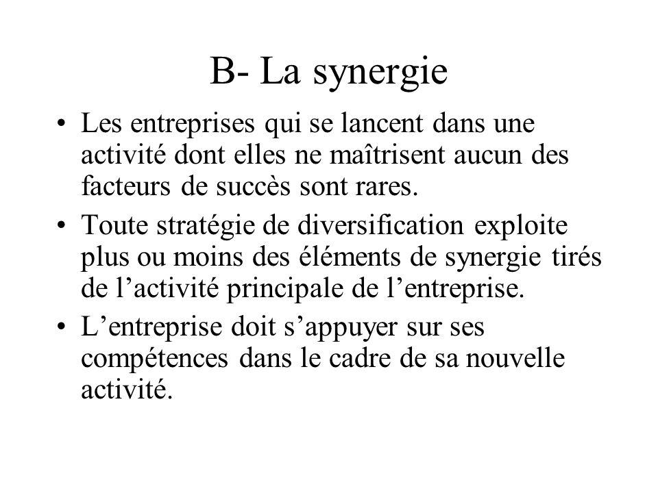 B- La synergie Les entreprises qui se lancent dans une activité dont elles ne maîtrisent aucun des facteurs de succès sont rares.
