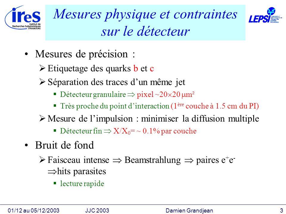 Mesures physique et contraintes sur le détecteur