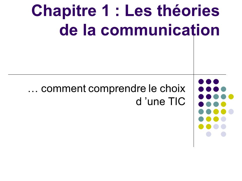 Chapitre 1 : Les théories de la communication
