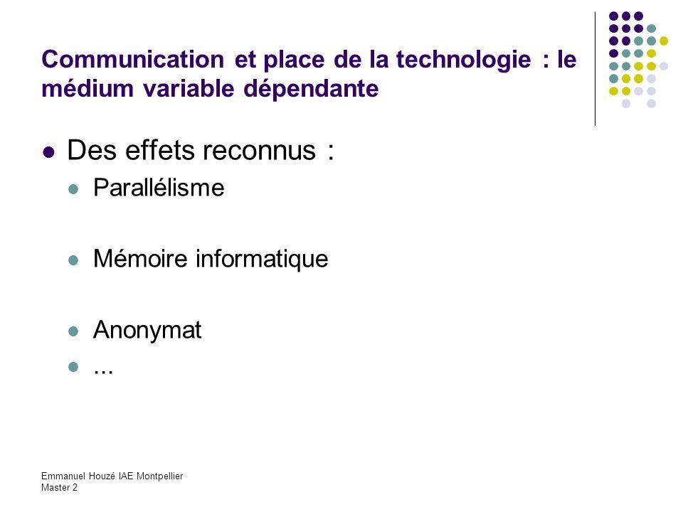 Communication et place de la technologie : le médium variable dépendante