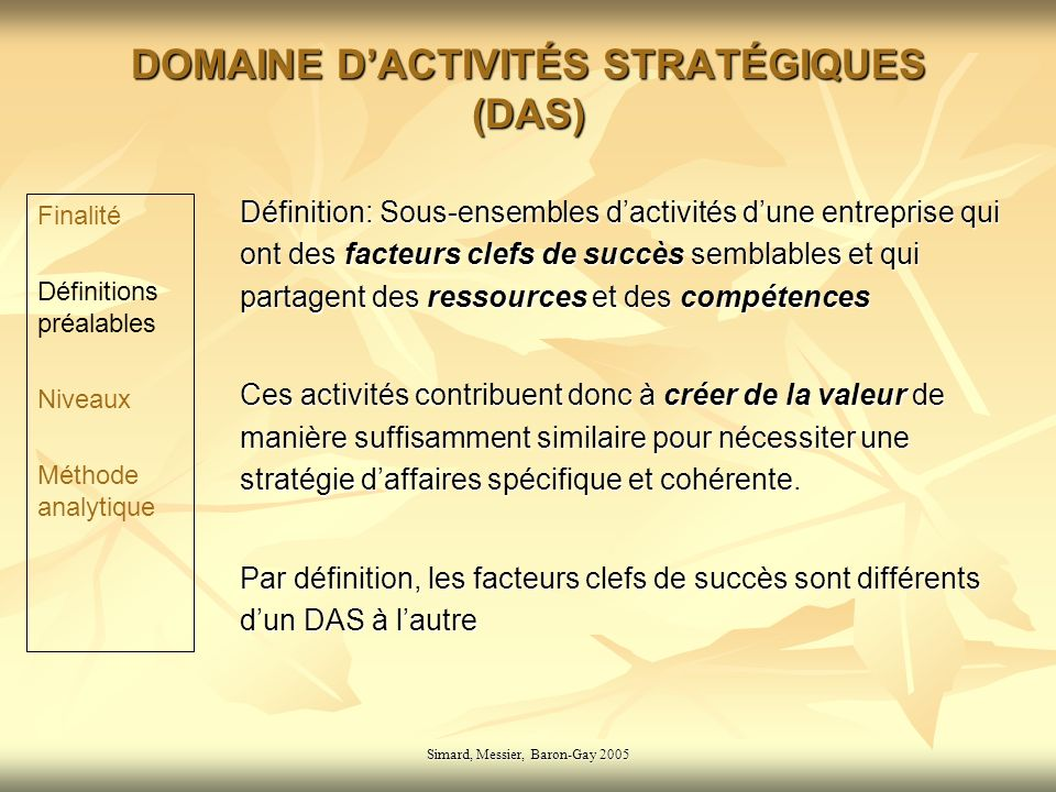 DOMAINE D'ACTIVITÉS STRATÉGIQUES (DAS)