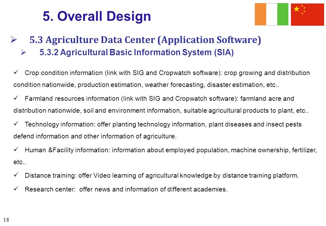 5. Overall Design 5.3 Agriculture Data Center (Application Software)