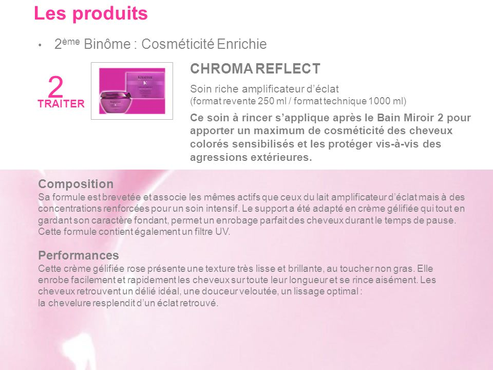2 Les produits 2ème Binôme : Cosméticité Enrichie CHROMA REFLECT