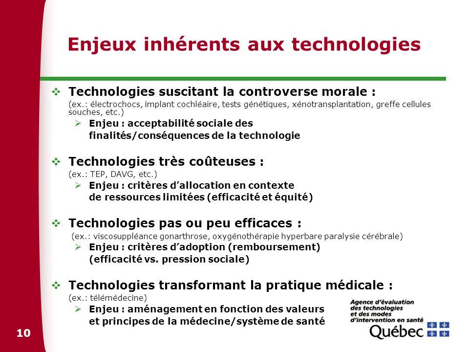 Enjeux inhérents aux technologies