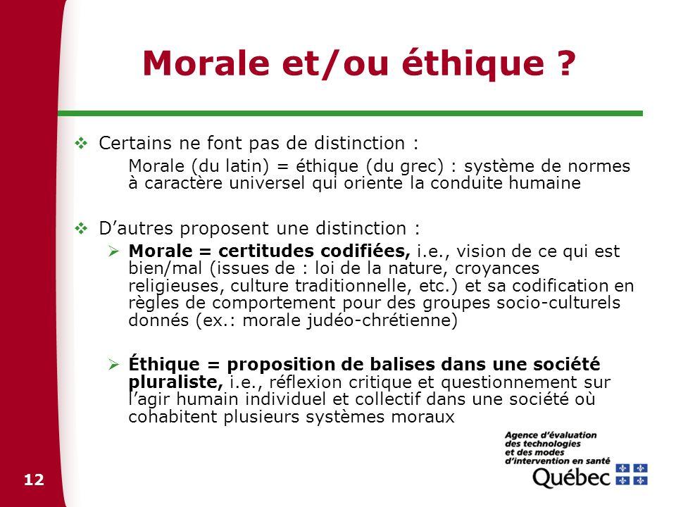 Morale et/ou éthique Certains ne font pas de distinction :