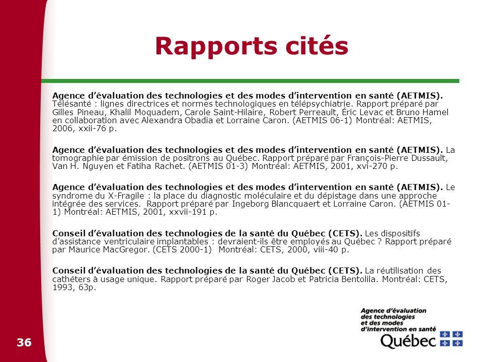 Rapports cités