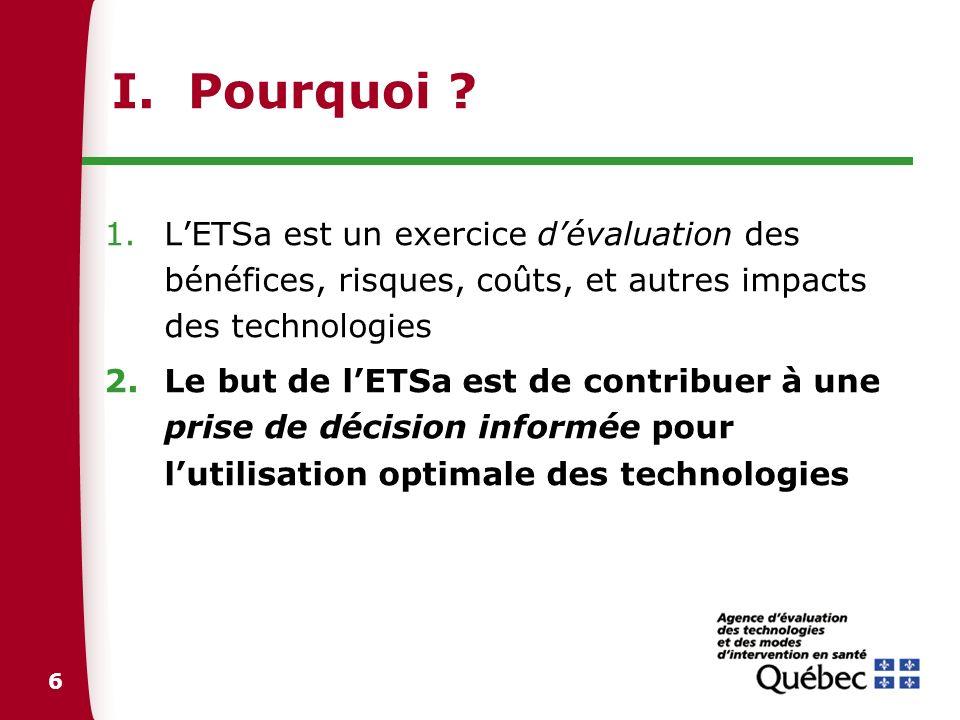 I. Pourquoi L'ETSa est un exercice d'évaluation des bénéfices, risques, coûts, et autres impacts des technologies.