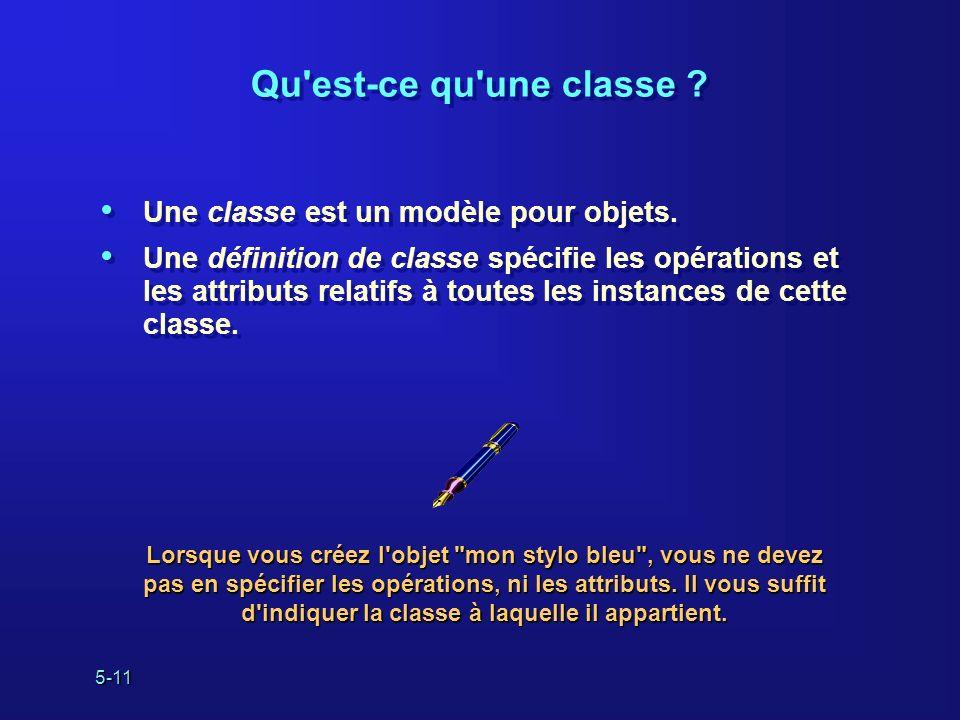 Qu est-ce qu une classe Une classe est un modèle pour objets.