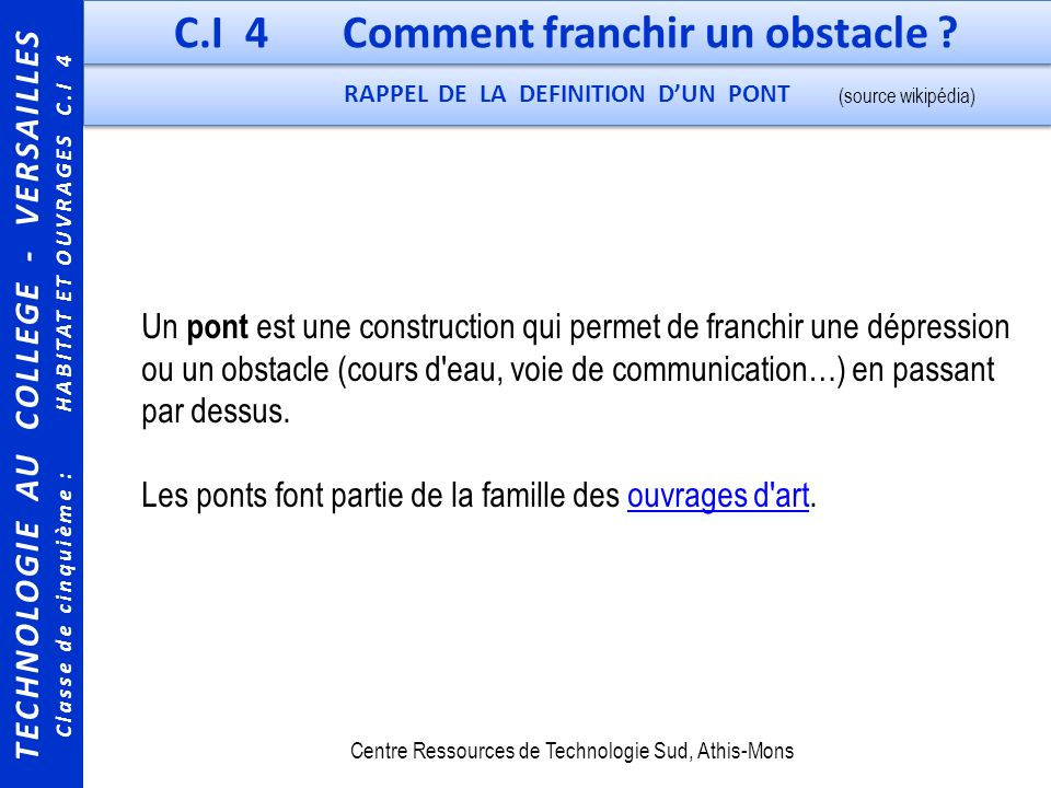 C.I 4 Comment franchir un obstacle RAPPEL DE LA DEFINITION D'UN PONT