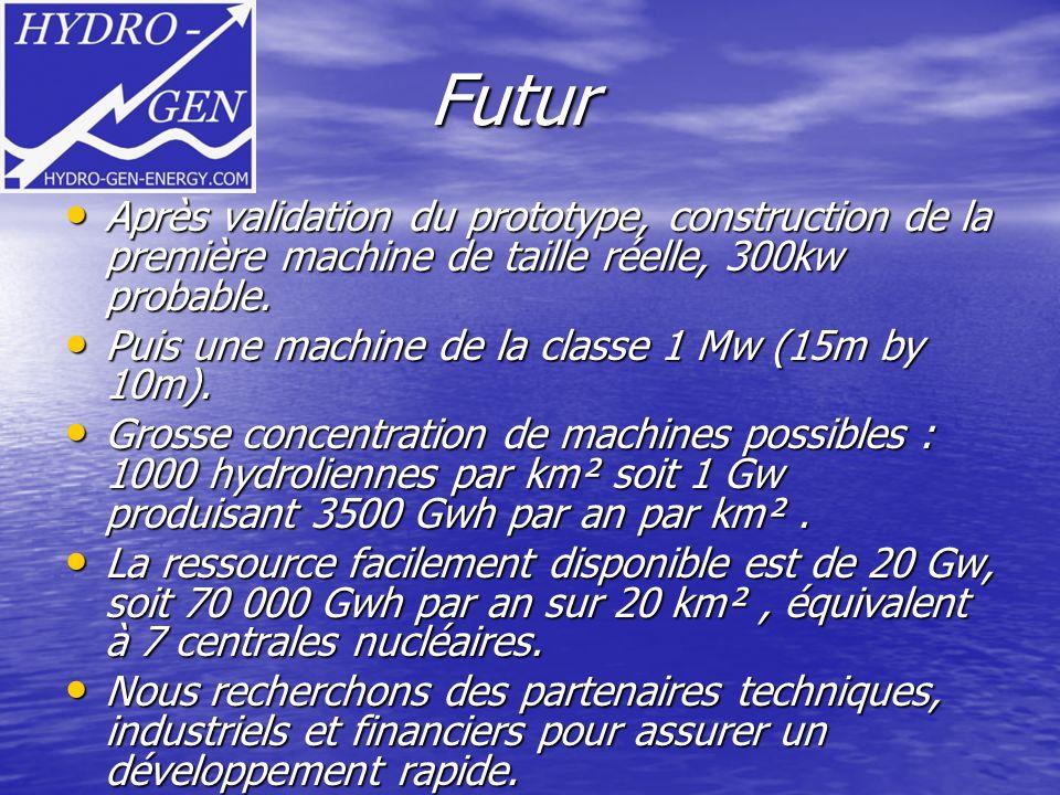 Futur Après validation du prototype, construction de la première machine de taille réelle, 300kw probable.