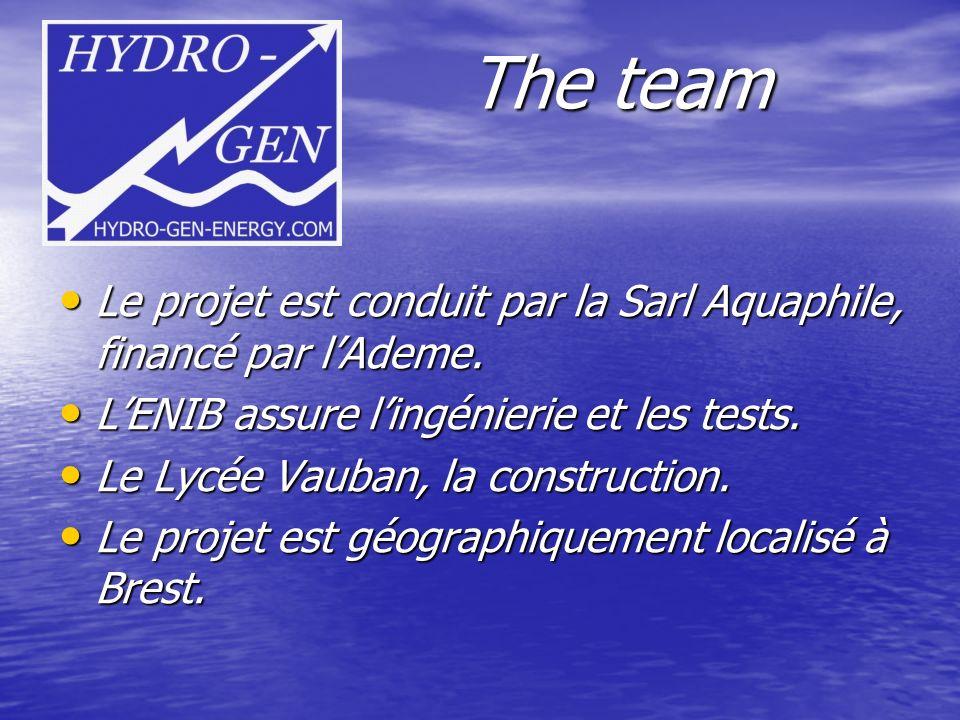 The team Le projet est conduit par la Sarl Aquaphile, financé par l'Ademe. L'ENIB assure l'ingénierie et les tests.