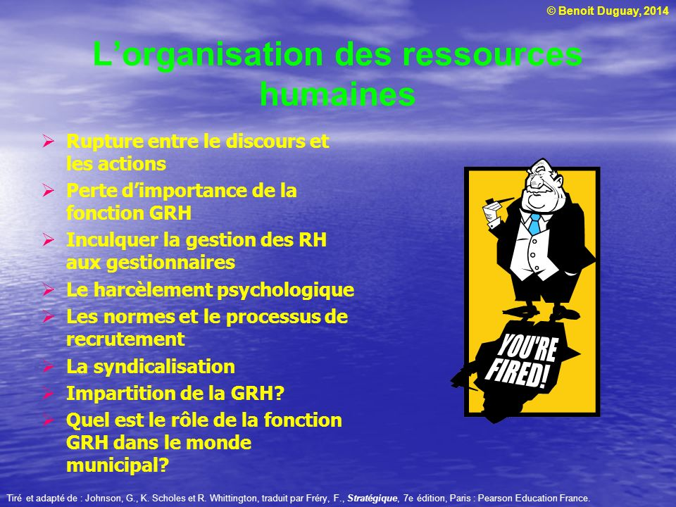 L'organisation des ressources humaines