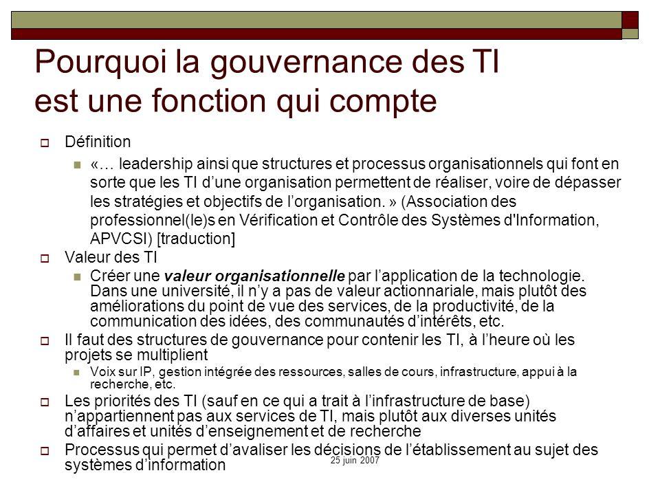 Pourquoi la gouvernance des TI est une fonction qui compte