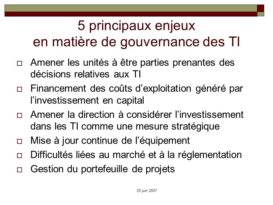 5 principaux enjeux en matière de gouvernance des TI