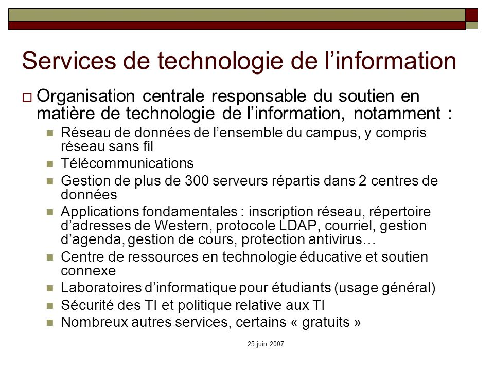 Services de technologie de l'information