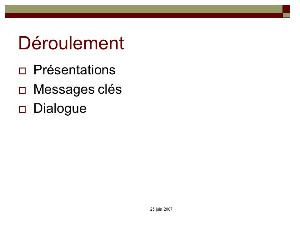 Déroulement Présentations Messages clés Dialogue 25 juin 2007