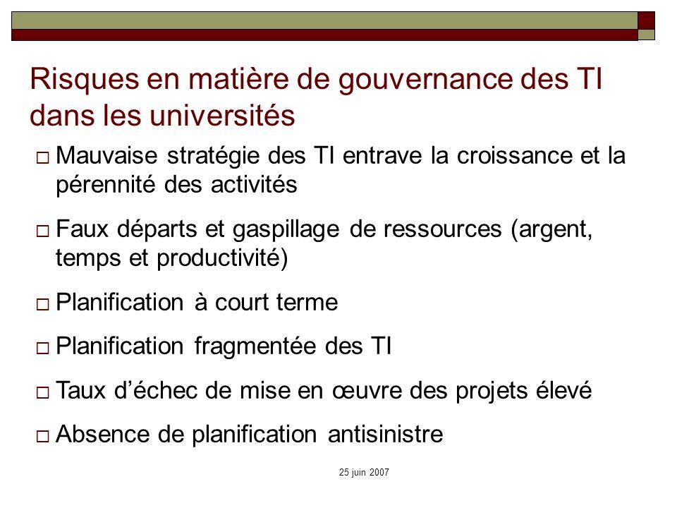 Risques en matière de gouvernance des TI dans les universités