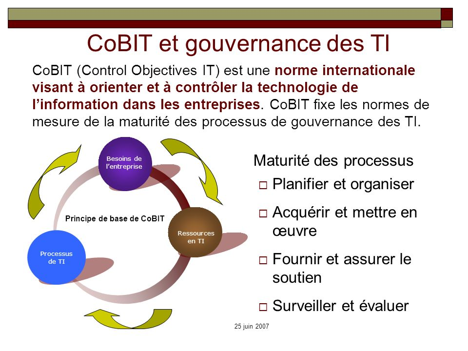 Principe de base de CoBIT