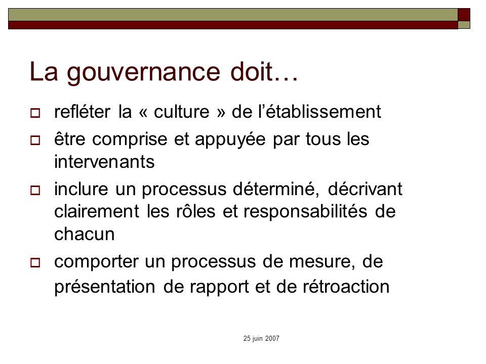 La gouvernance doit… refléter la « culture » de l'établissement