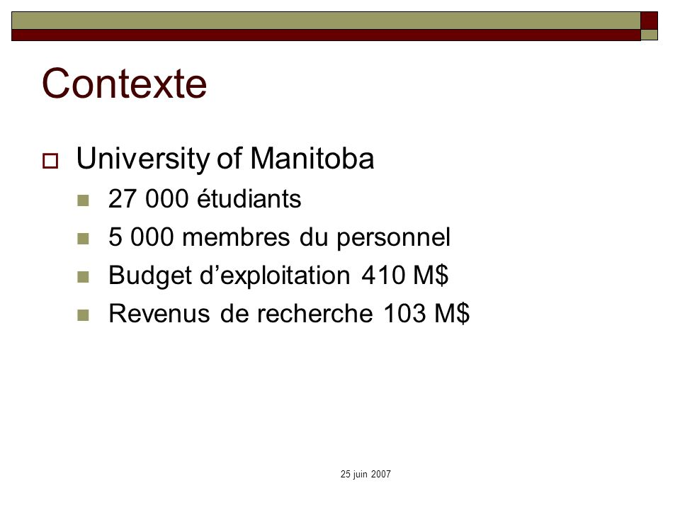 Contexte University of Manitoba 27 000 étudiants