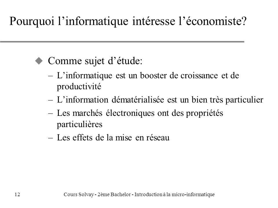 Pourquoi l'informatique intéresse l'économiste