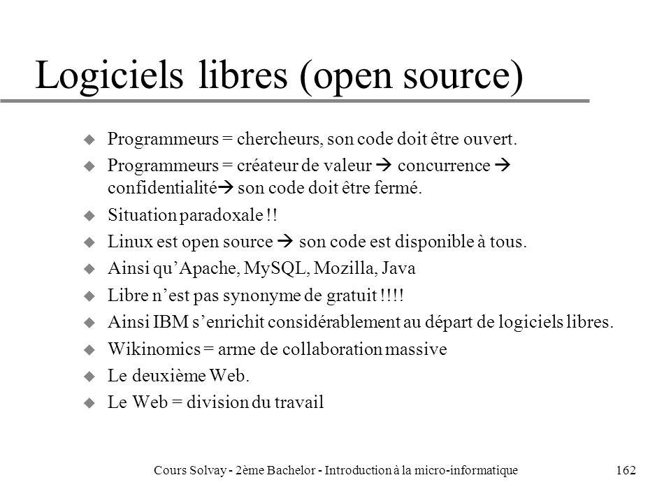 Logiciels libres (open source)