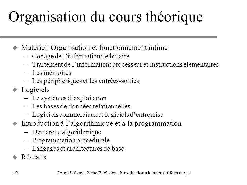 Organisation du cours théorique