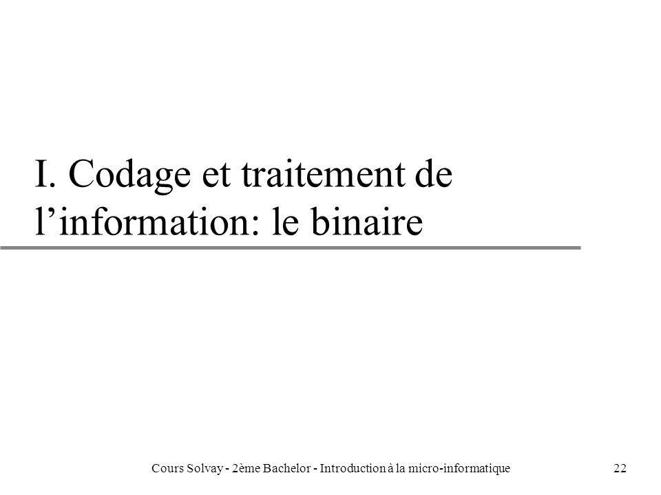 I. Codage et traitement de l'information: le binaire