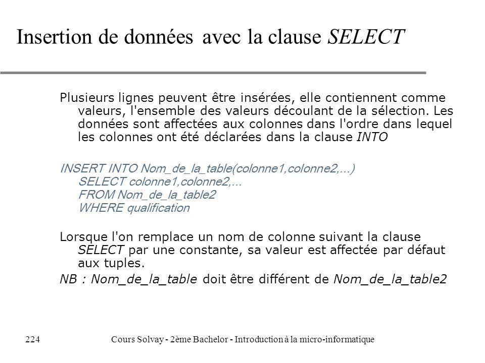 Insertion de données avec la clause SELECT