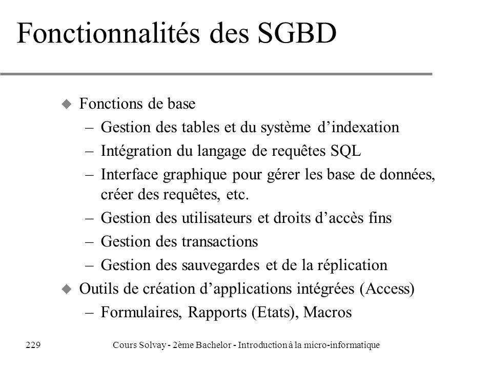 Fonctionnalités des SGBD