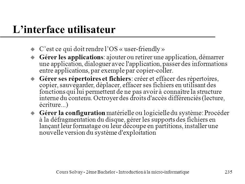 L'interface utilisateur