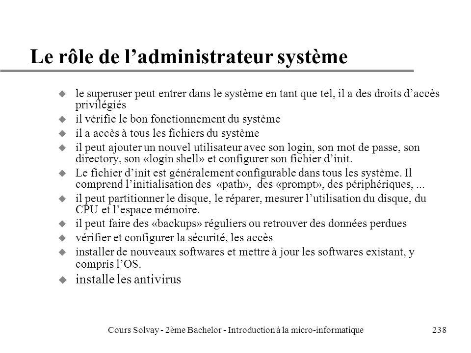 Le rôle de l'administrateur système