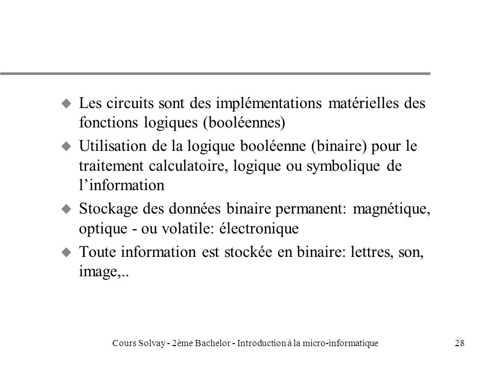 Introduction la micro informatique ppt t l charger for Cours de circuit logique