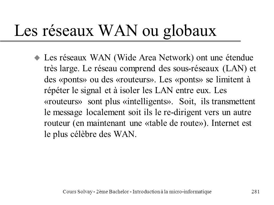 Les réseaux WAN ou globaux