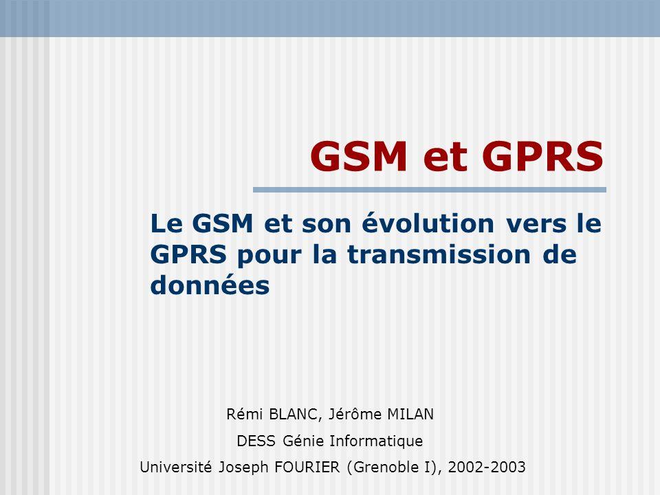 Le GSM et son évolution vers le GPRS pour la transmission de données