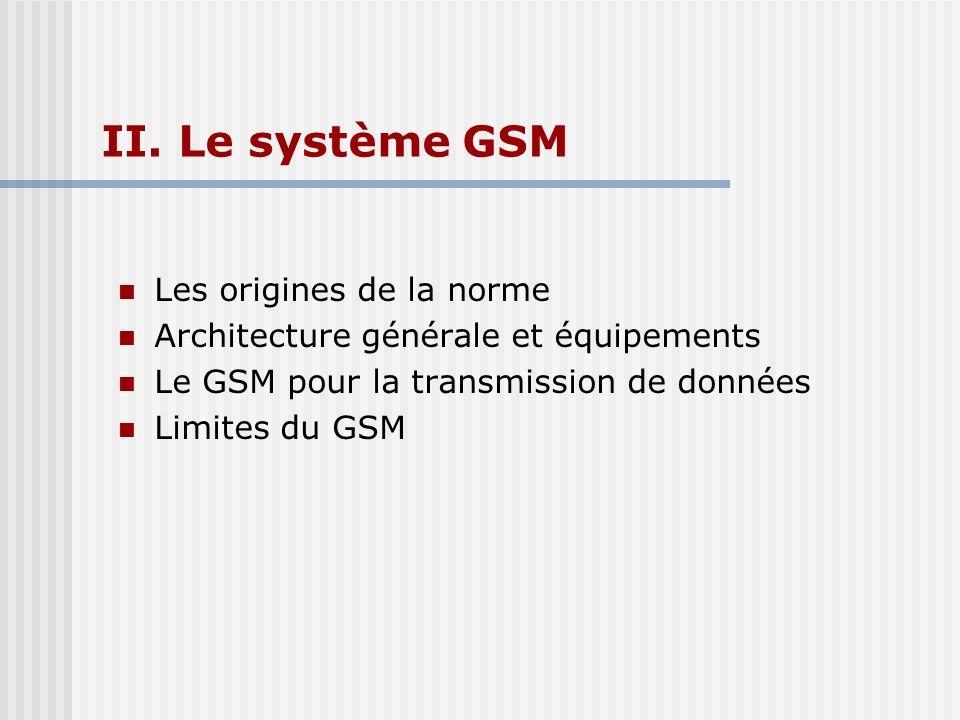 II. Le système GSM Les origines de la norme