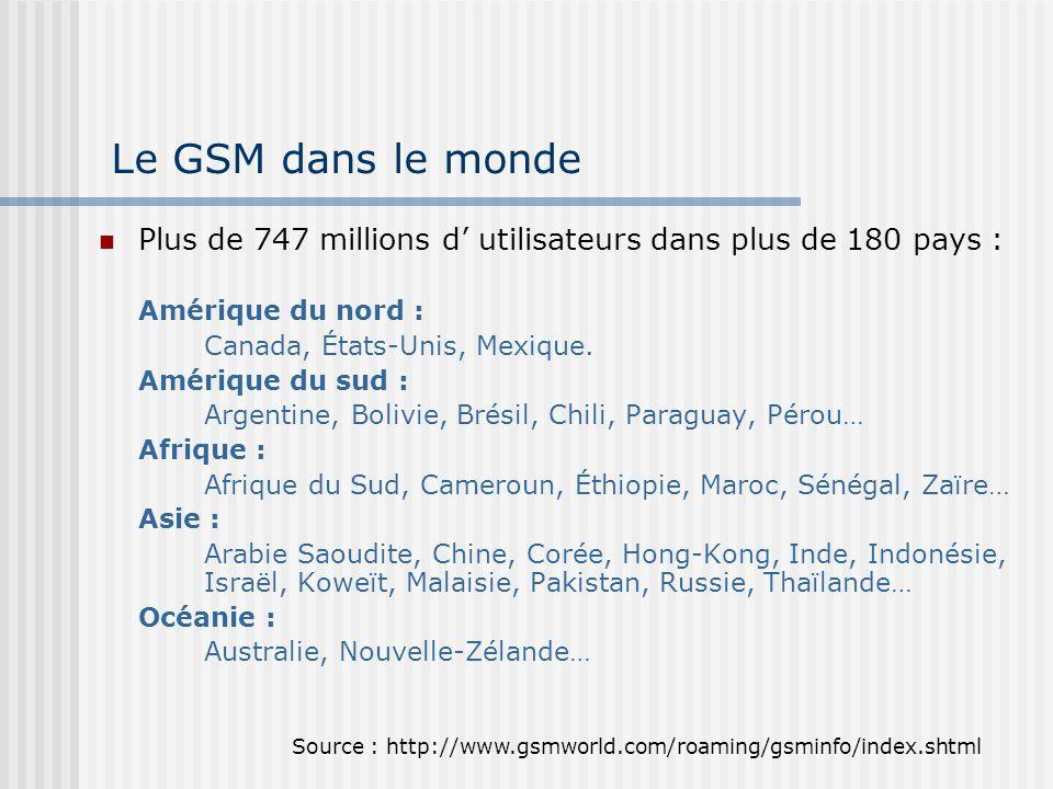 Le GSM dans le monde Plus de 747 millions d' utilisateurs dans plus de 180 pays : Amérique du nord :