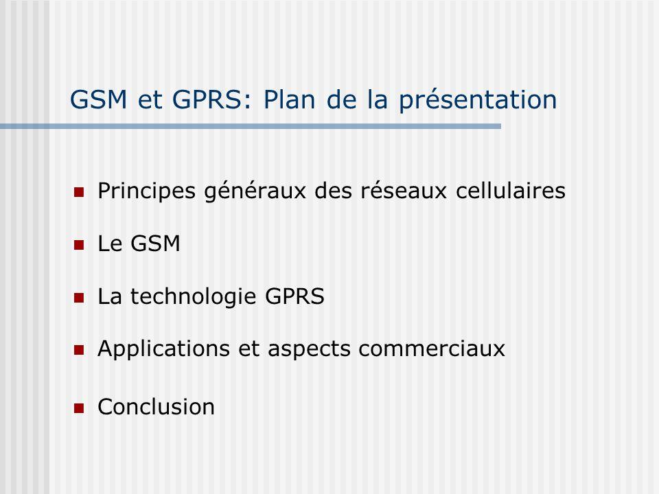 GSM et GPRS: Plan de la présentation
