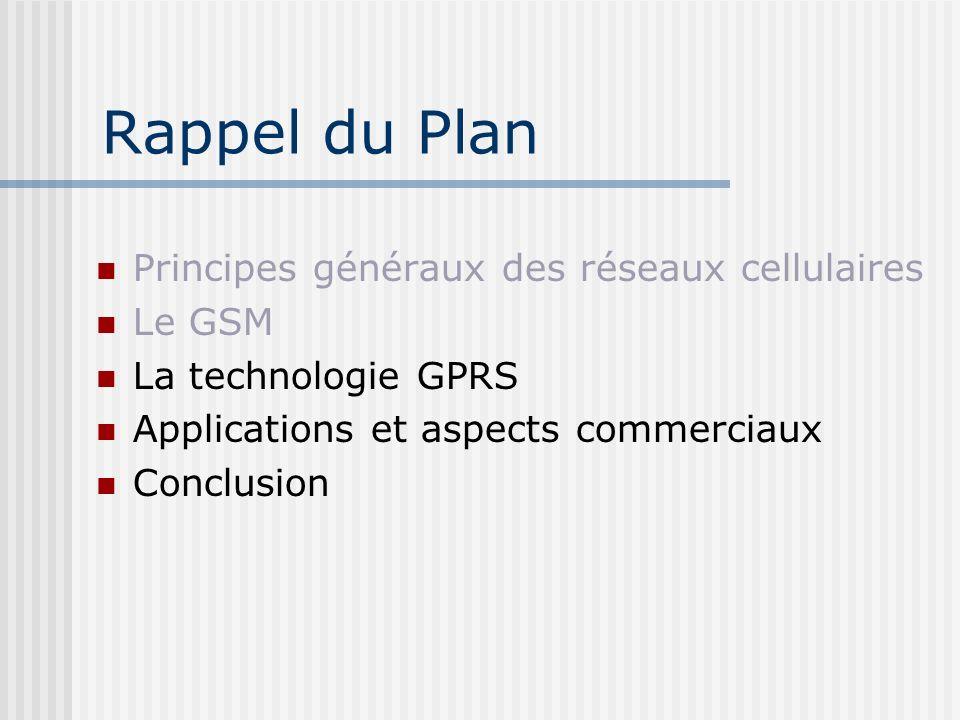 Rappel du Plan Principes généraux des réseaux cellulaires Le GSM