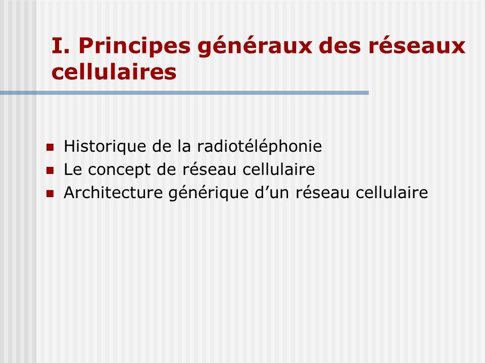 I. Principes généraux des réseaux cellulaires