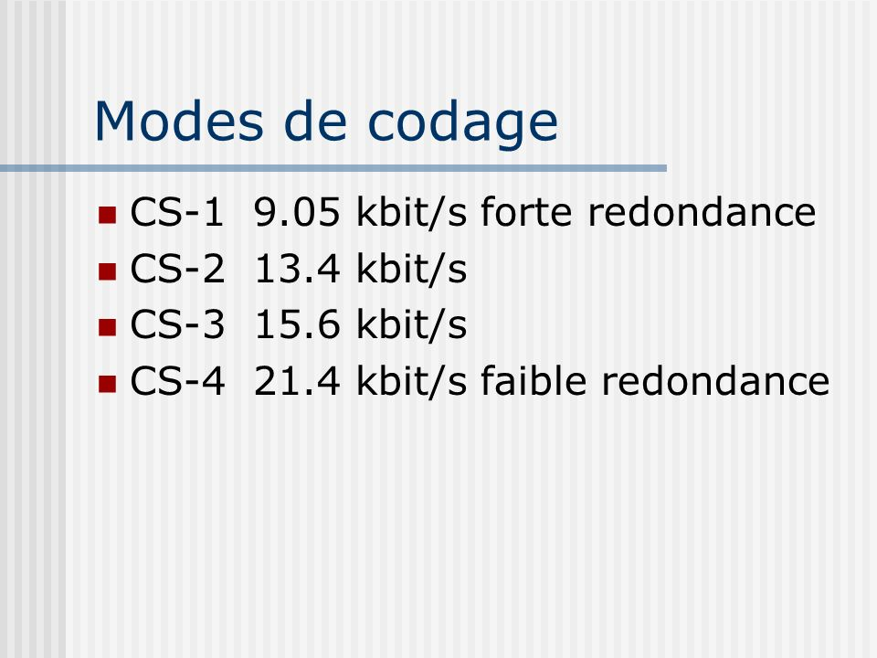 Modes de codage CS-1 9.05 kbit/s forte redondance CS-2 13.4 kbit/s