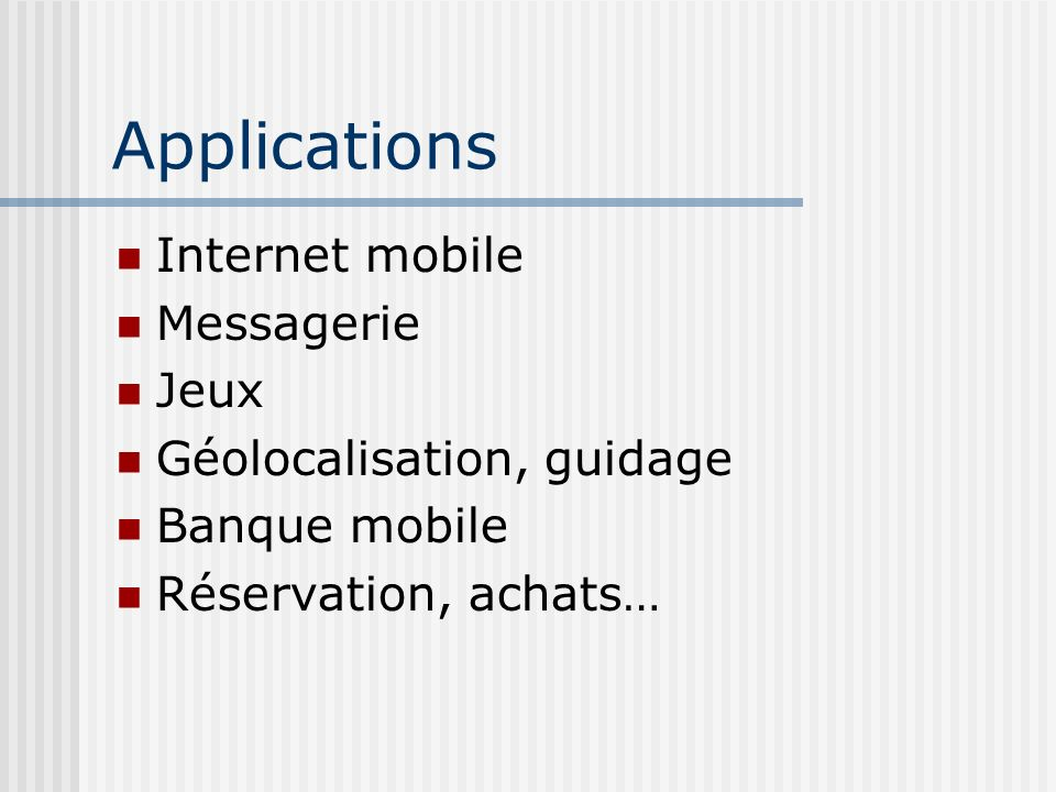 Applications Internet mobile Messagerie Jeux Géolocalisation, guidage