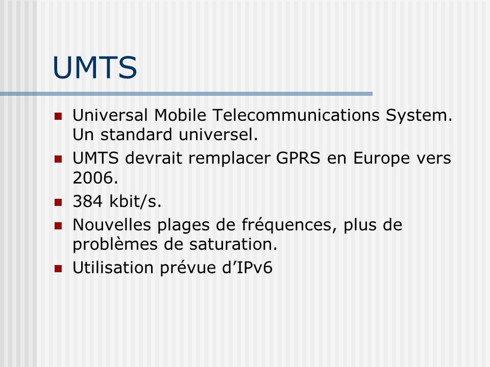 UMTS Universal Mobile Telecommunications System. Un standard universel. UMTS devrait remplacer GPRS en Europe vers 2006.