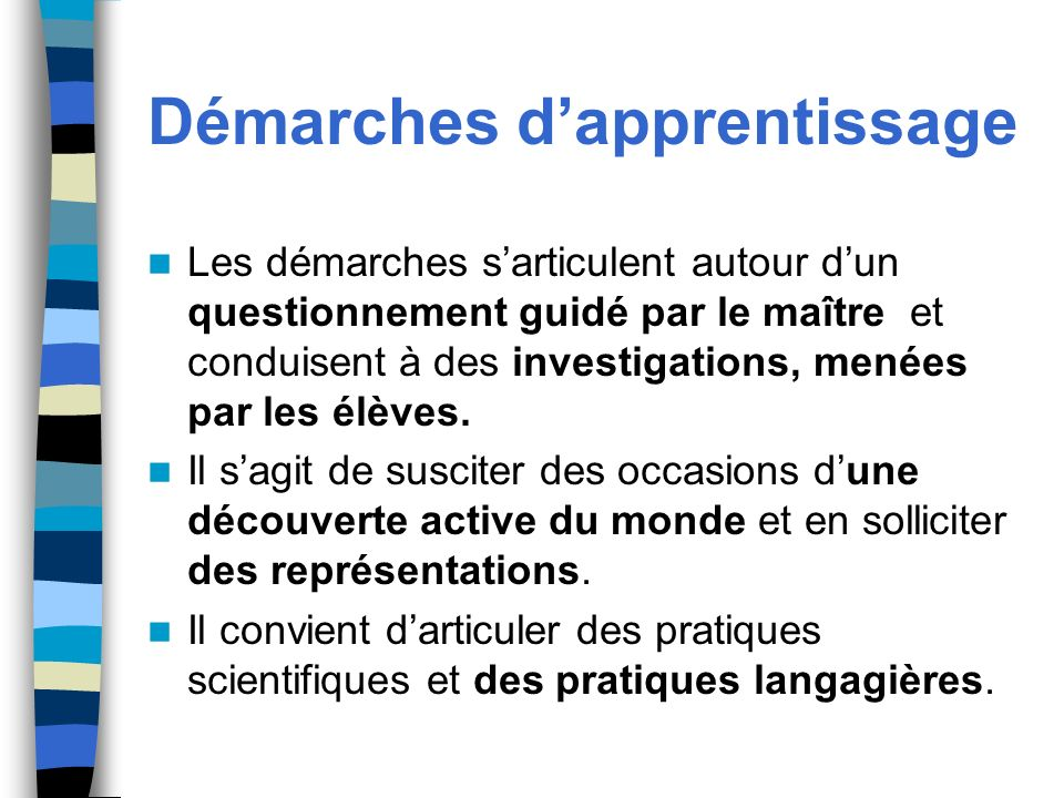 Démarches d'apprentissage