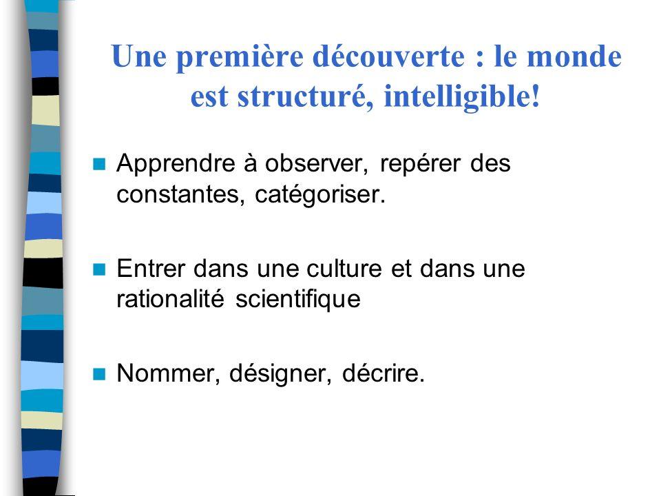 Une première découverte : le monde est structuré, intelligible!