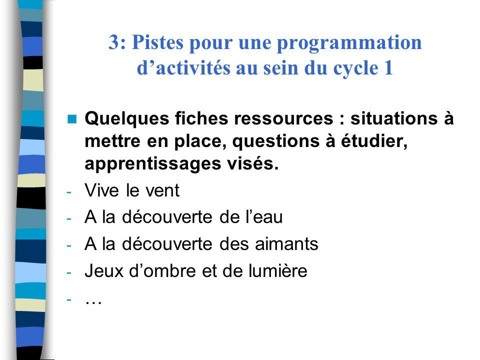 3: Pistes pour une programmation d'activités au sein du cycle 1