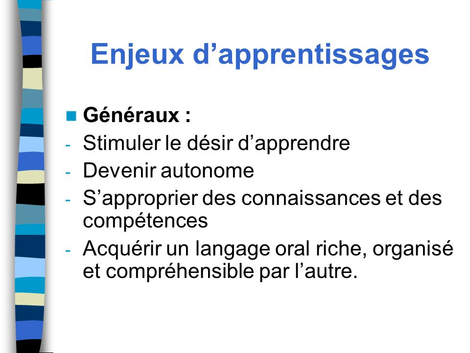 Enjeux d'apprentissages