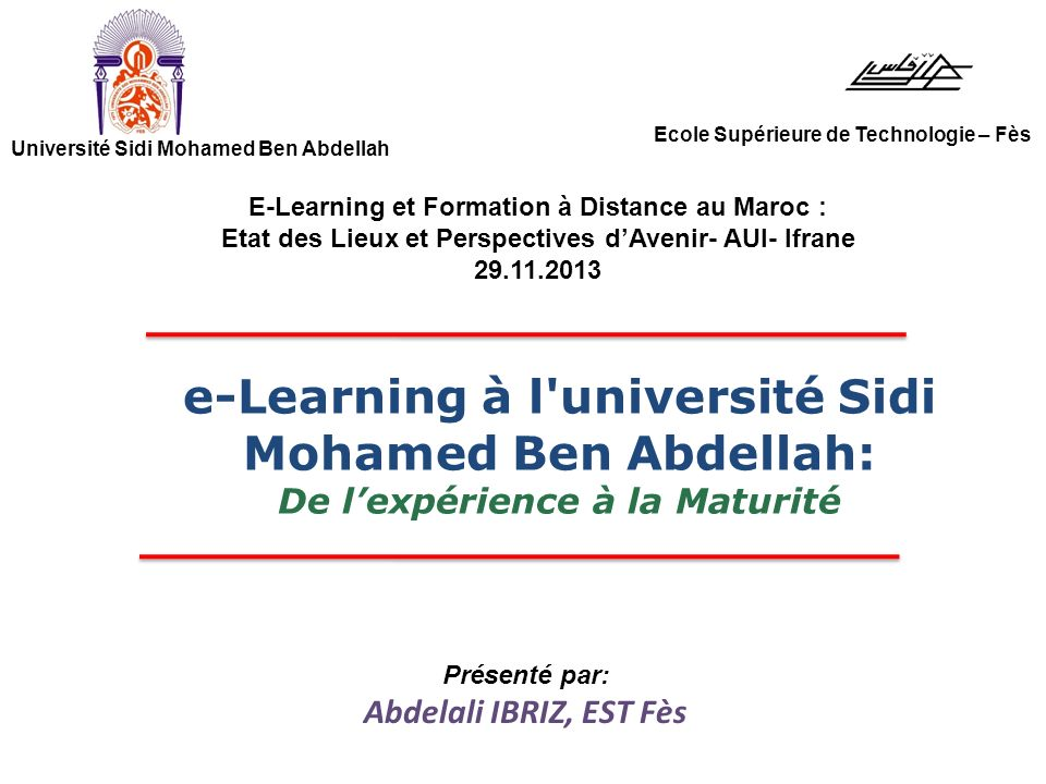 e-Learning à l université Sidi Mohamed Ben Abdellah: