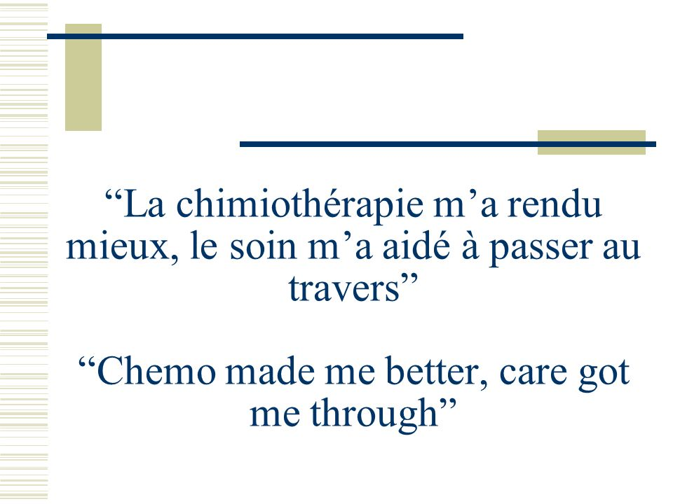 La chimiothérapie m'a rendu mieux, le soin m'a aidé à passer au travers Chemo made me better, care got me through
