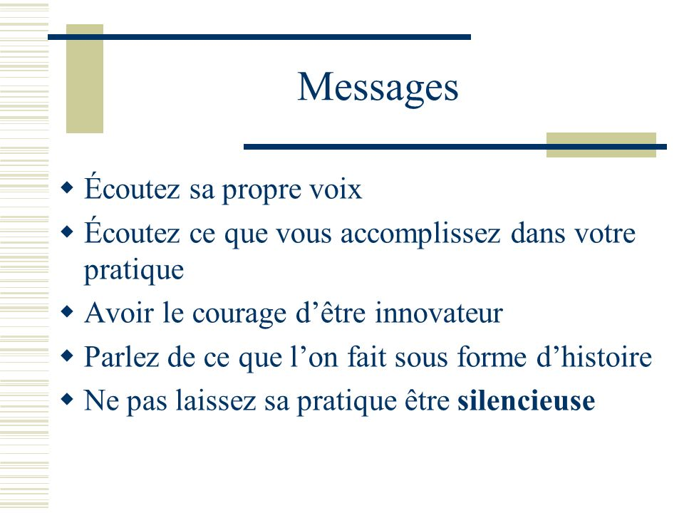 Messages Écoutez sa propre voix